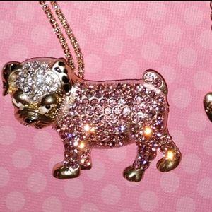 Betsey Johnson Crystal Pink Bulldog Necklace